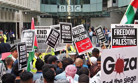 Pro-Palestine groups protest outside BBC