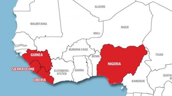 Avstanden mellom Nigeria og de ebola-rammede landene i vest