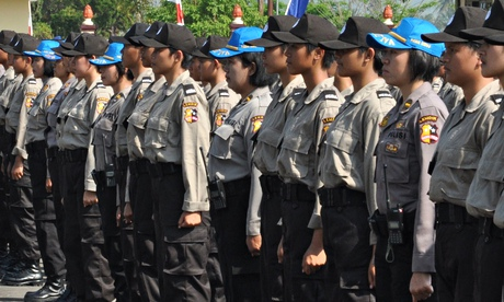 Frmale Indonesian police recruits stand in line