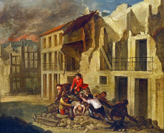 An undated handout painting shows people recovering a girl from ruins in Lisbon after an earthquake ..