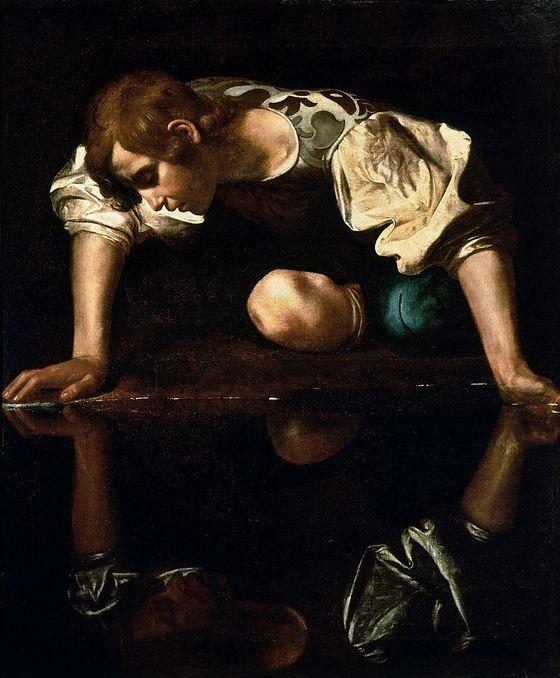 846px-Narcissus-Caravaggio_(1594-96)_edited