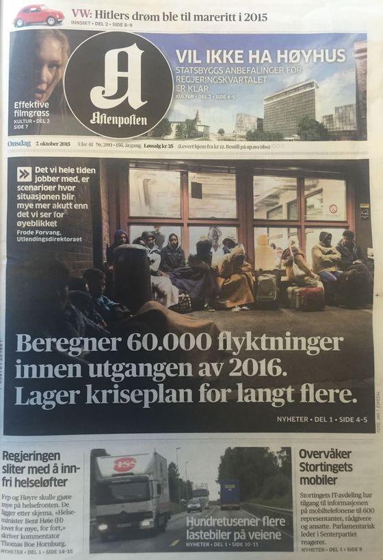 Forside Aftenposten 2. oktober 2015 - Beregner 60.000 flyktninger innen utgangen av 2016.