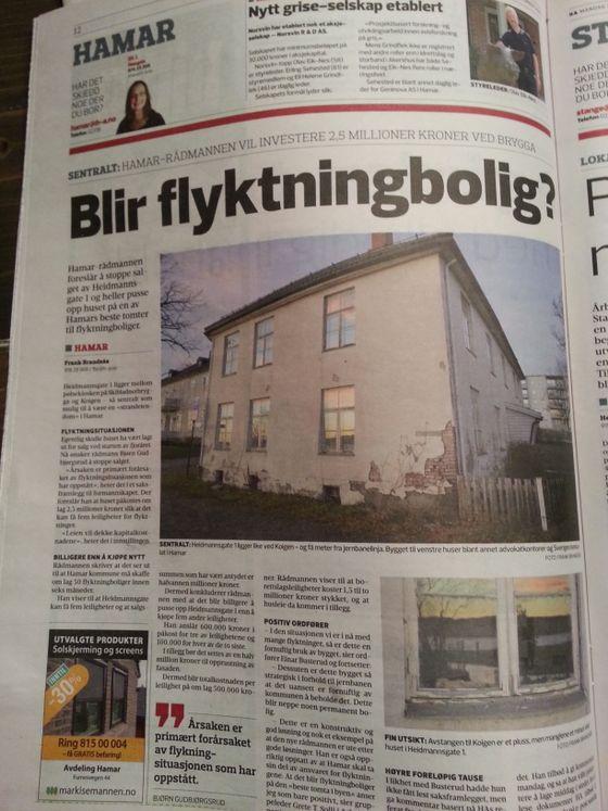 """Flyktninger får kanskje bolig på Hamars """"beste tomt""""."""