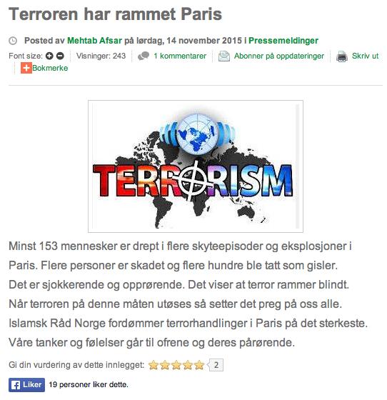 Islamsk råd Norge Mehtab Afsar 13-11-terror