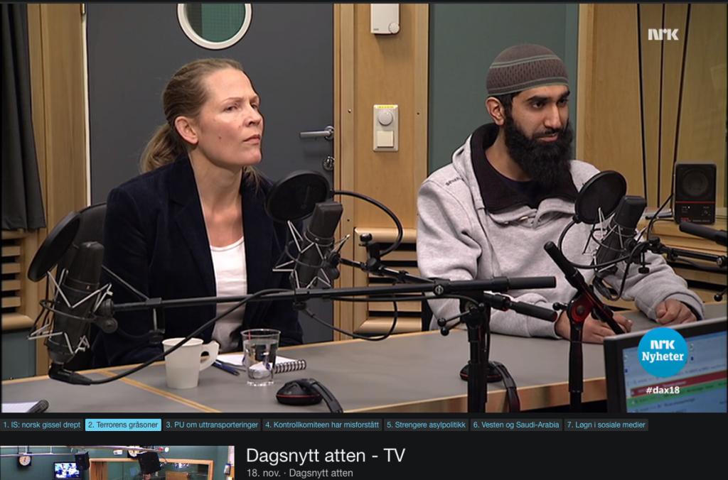 Åsne Seierstad & Fahad Qureshi i Dagsnytt atten, 18. november 2015