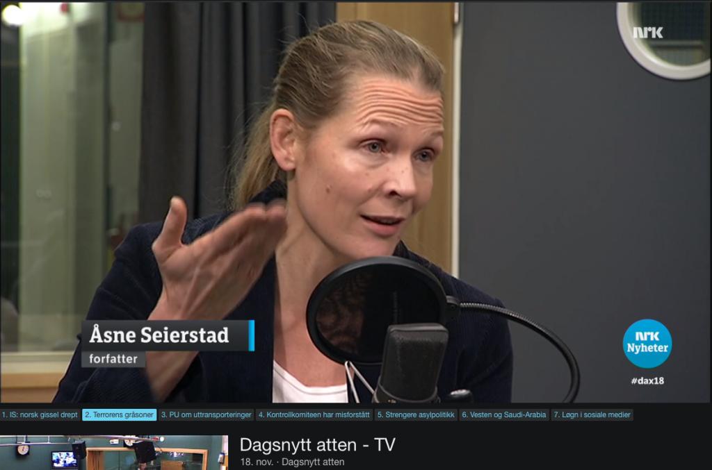 Åsne Seierstad, NRK Dagsnytt atten 18. november 2015 med Fahad Qureshi, IslamNet