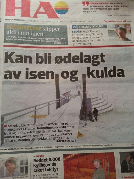 Det er fortsatt vinter og snø på Hamar.