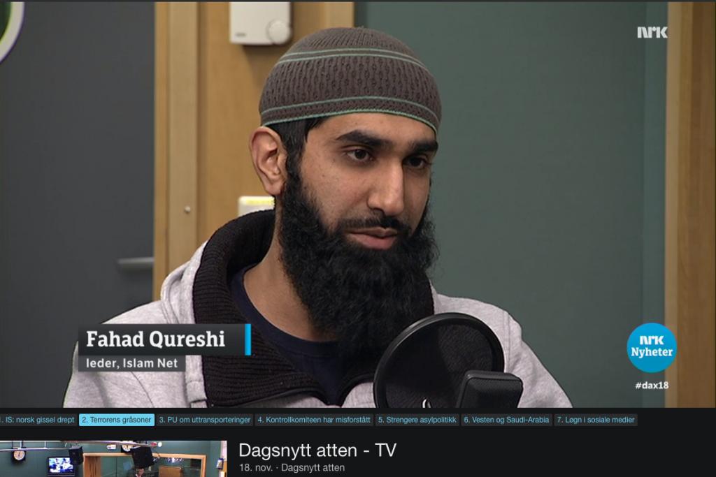 Fahad Qureshi, IslamNet, i NRK Dagsnytt atten 18. november 2015 med Åsne Seierstad