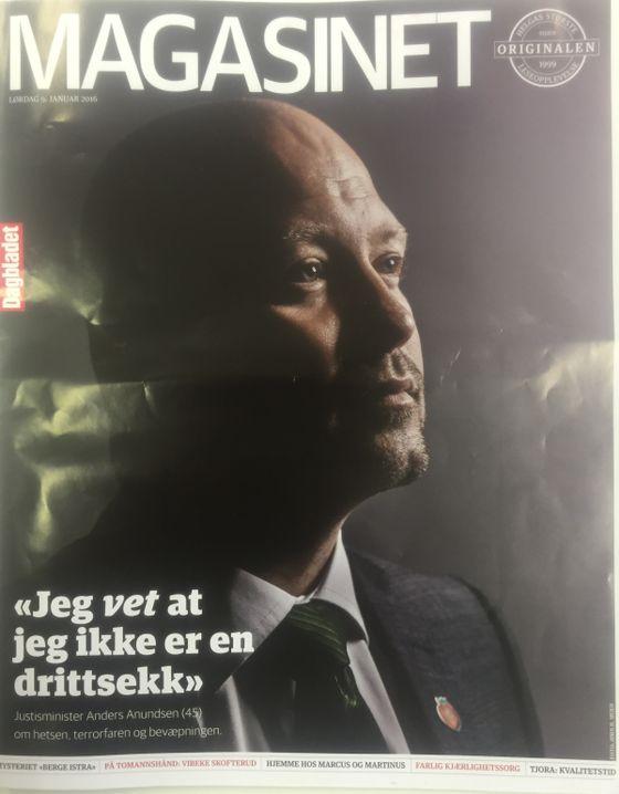 Justsminister Anders Anundsen i Dagbladet Magasinet 9. januar 2016 - Jeg vet at jeg ikke er en drittsekk