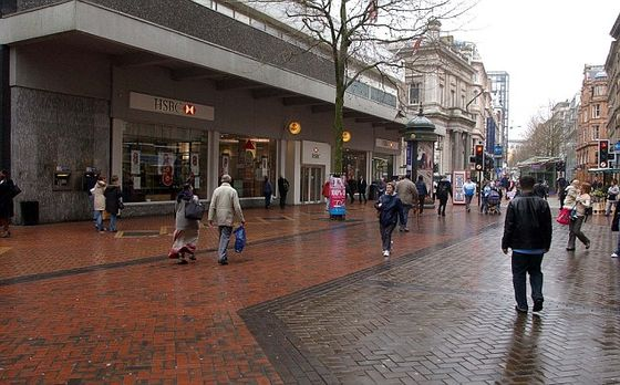 Birmingham City Centre traffic free and pedestrian precinct New St....Pix Bould