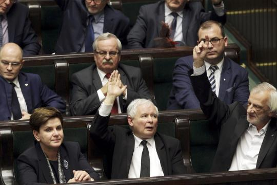 Polen.Szydlo-Kaczynski-leader-of-ruling-Law-and-Justice-party-