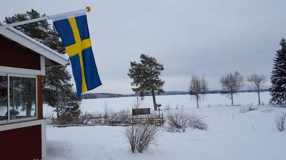 Det svenske flagget henger ute i vinterlandskapet.