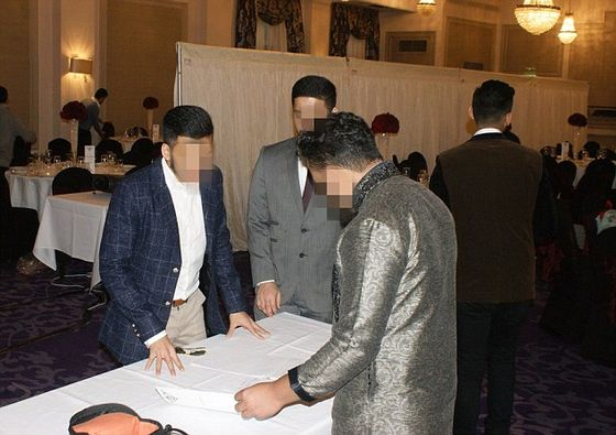 They show the LSE Islamic Society annual dinner, held on Sunday March 13 at Grand Connaught Rooms in Central London. The event was segregated with a screen separating male and female students. All the pictures are taken from Facebook without permission
