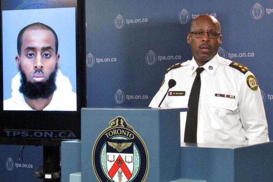 "Chief Mark Saunders speaks at a news conference in Toronto on Tuesday, March 15, 2016 about the attack on two Canadian soliders at a recruitment centre in the city's north end on Monday. Police say a 27 year-old Canadian man, Ayanie Hassan Ali, said, ""Allah told me to come here and kill people"" at a double stabbing at a military recruitment center in Toronto. The suspect will appear in court later Tuesday to face charges.  (Colin Perkel/The Canadian Press via AP)"