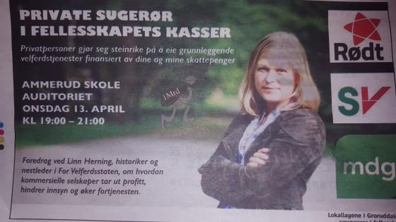 Annonsen sto på trykk i Akers Avis Groruddalen fredag 8. april.