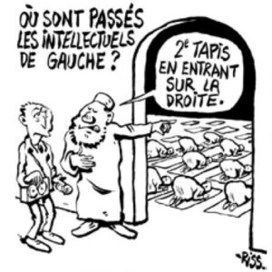 «Hvor ble av de venstreintellektuelle?» «Andre bønneteppe til høyre.» Tegnet av overlevende «Riss» fra Charlie Hebdo