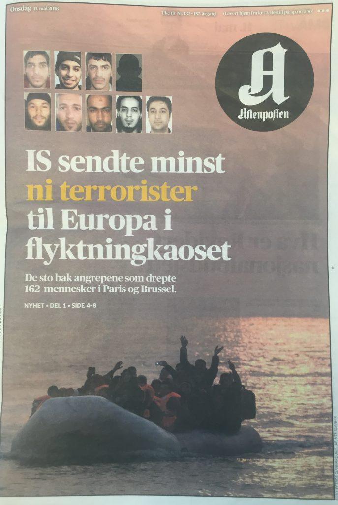 Aftenposten 11.05.16 ISIS terrorister flyktninger migranter 2016