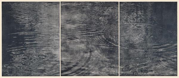 Gertsch,Triptychon-Schwarzwasser,1992,woodcut,3woodcuts,3sheets,276x597,Impression_no9