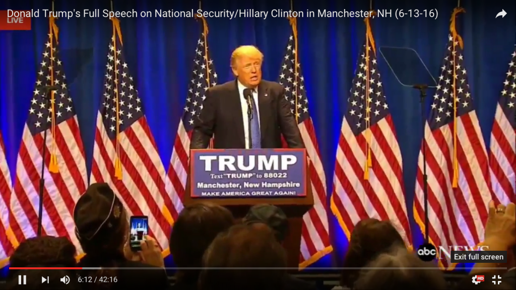Trump speech 12:6-terror Hillary Clinton  mediekritik islamisering angreb homoseksuelle Orlando Florida 2016