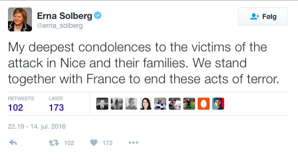 14:7-terror Erna Solberg Twitter Nice Frankrike 2016