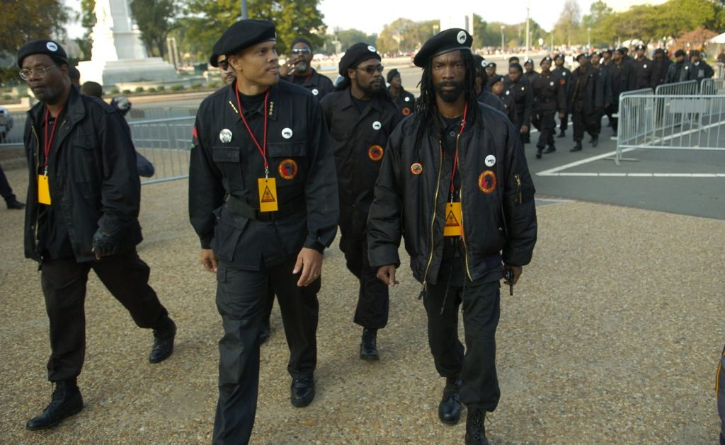 Members of The New Black Panther Party walk towards the US Capitol in Washington, DC, for the Million More Movement rally to commemorate the 10th anniversary of the Million Man March, Saturday, October 15, 2005. ( J.M. Eddins Jr. / The Washington Times )