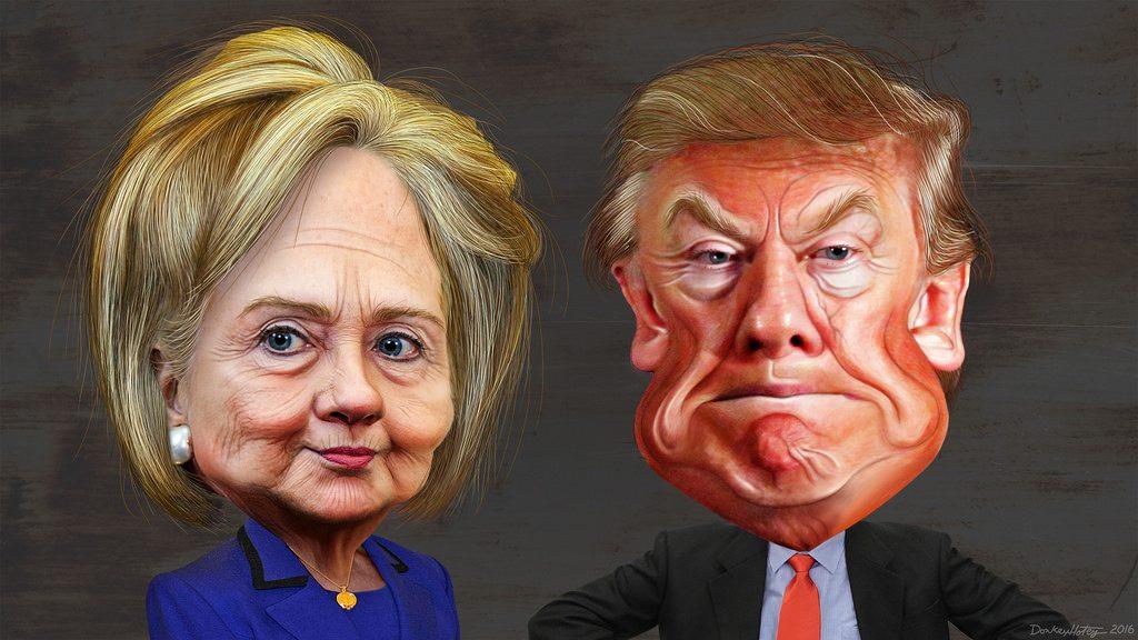 trump.hillary.caricature