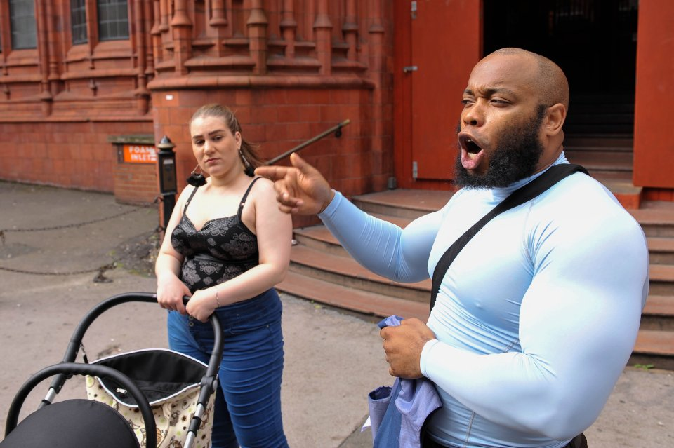 "Islamic street preacher, Krissoni Henderson, 31, with his partner arriving at Birmingham Magistrates court today where he is charged with public order offences for allegedly shouting verbal abuse at a woman in Birmingham city centre and swearing at her ""for wearing tight jeans"". See NTI story NTIPREACH. September 6, 2016."