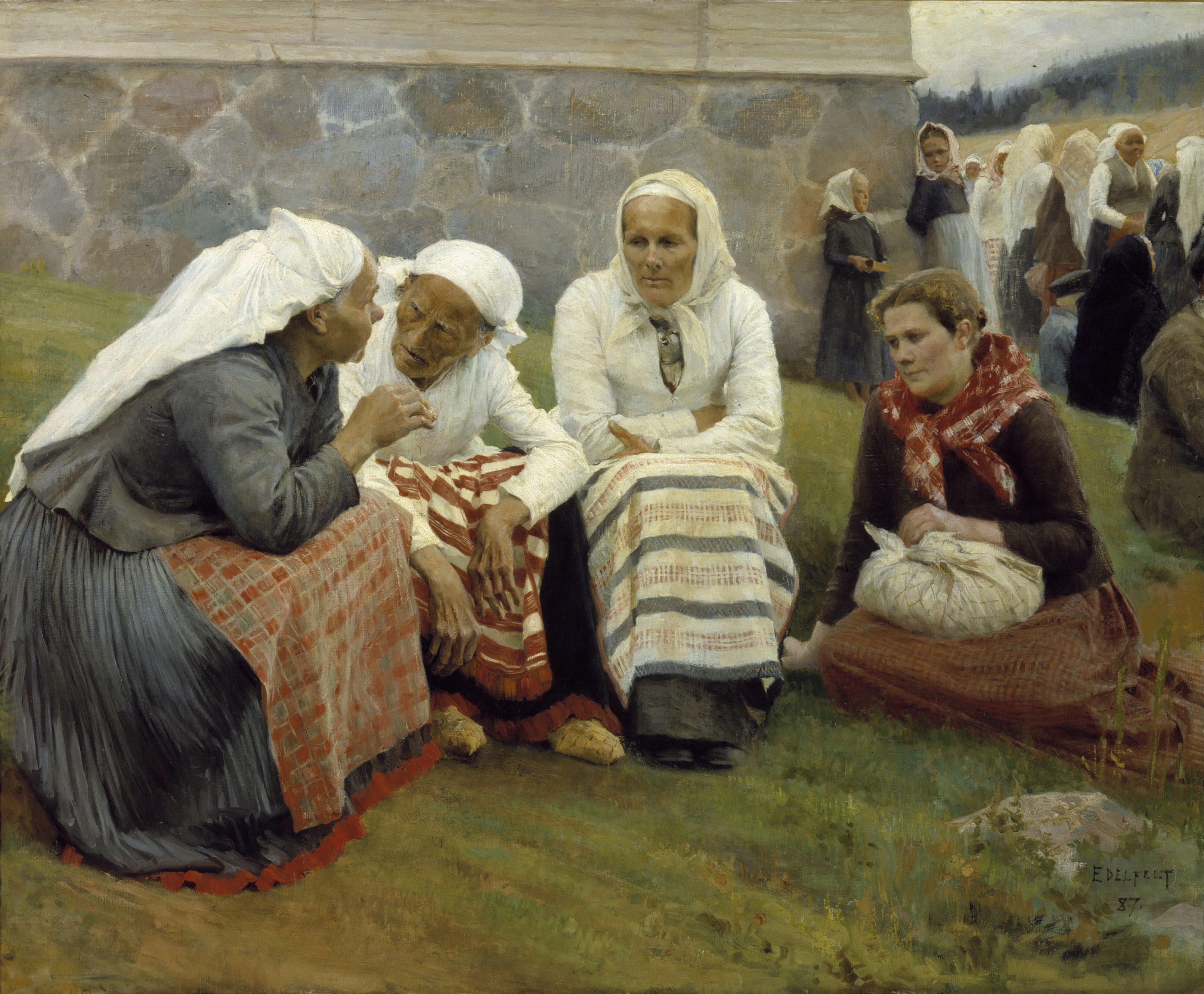 albert_edelfelt_-_women_outside_the_church_at_ruokolahti_-_google_art_project