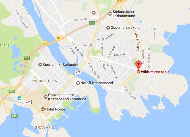 kart-kristiansand-wilds-minne-skole