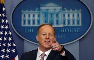 White House spokesman Sean Spicer holds a press briefing at the White House in Washington January 23, 2017.  REUTERS/Kevin Lamarque