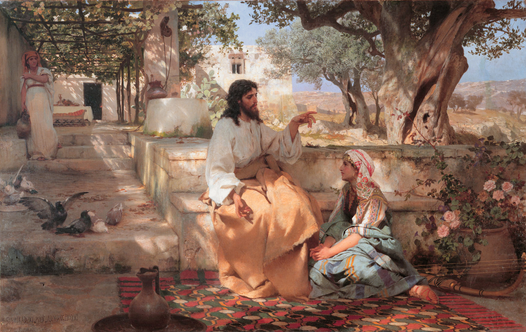Christ with Martha and Maria *oil on canvas *191 x 302.5 cm *signed b.l: H SIEMIRADZKI.PINX.AD.MDCCCLXXXVI / ROMA *1886