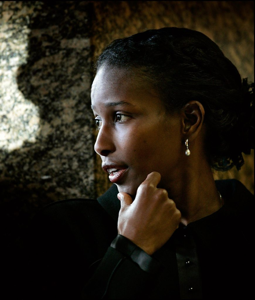 Ayaan Hirsi Ali of the Netherlands is seen in Hague in this January 18, 2005 file photo. Hirsi Ali, a Somali-born Dutch politician known for her criticism of Islam, will leave parliament and move to the United States after admitting she lied to win asylum in the Netherlands, media reported on May 15, 2006.   REUTERS/Michael Kooren