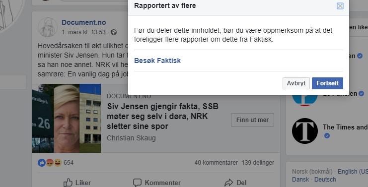 b328f593 ... vår artikkel på Facebook, fikk han opp følgende melding: Rapportert av  flere. Før du deler dette innholdet, bør du være oppmerksom på at det  foreligger ...