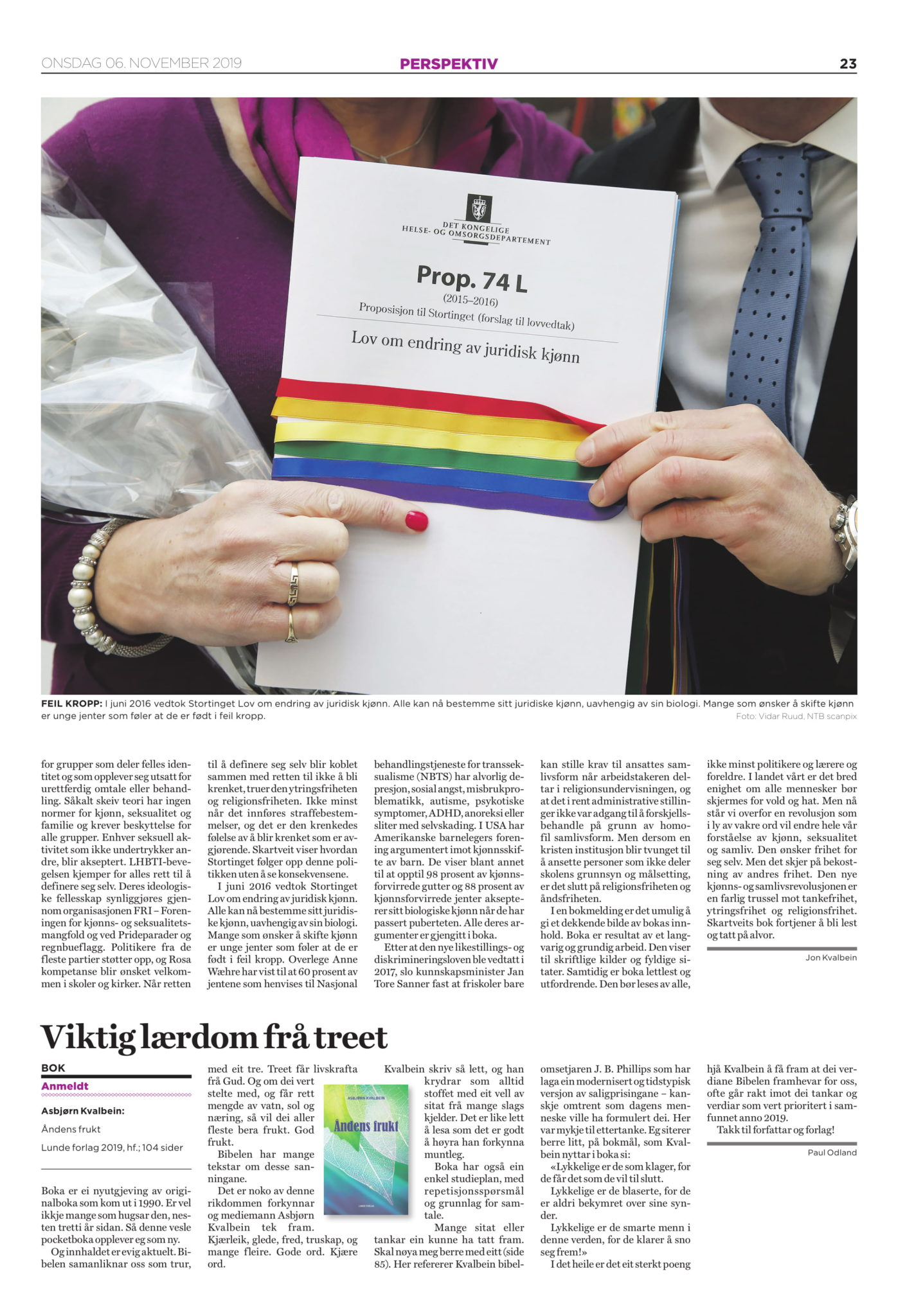 Normløst anmeldt i Dagen, side 23